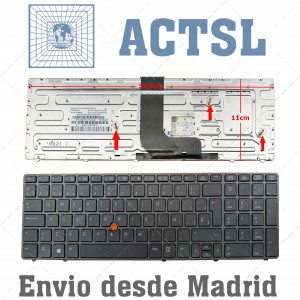 Teclado para HP Elitebook 8560W 8570W Gris Antracita
