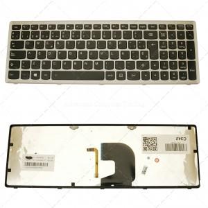 Teclado para portátil Lenovo Z500 Silver Frame Black (Backlit)